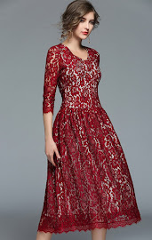 2018 Three Quarter Sleeve Black/Maroon Lace Flare Dress