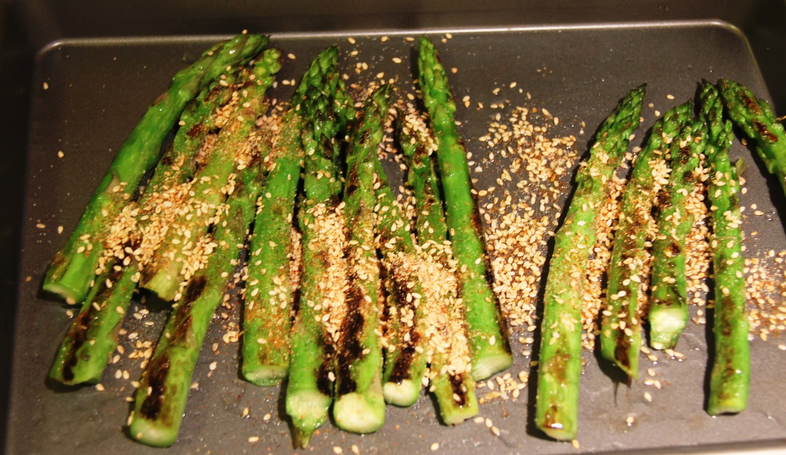 Once Asparagus Is Cooked, Remove To Baking Sheet Once Again And Sprinkle  With Prepared Sesamesalt