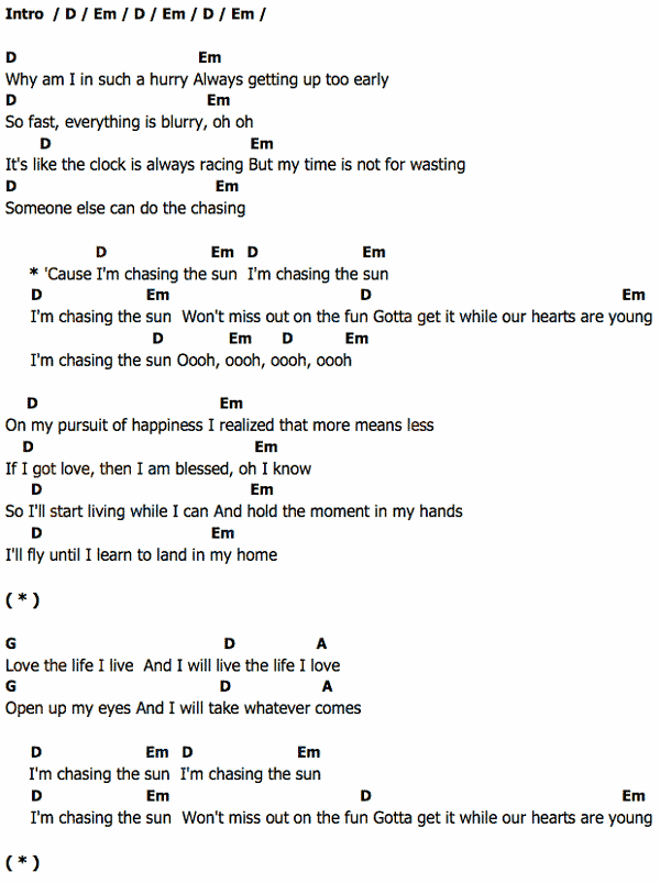 ... เนื้อเพลง Chasing the sun Hilary Duff Chordza