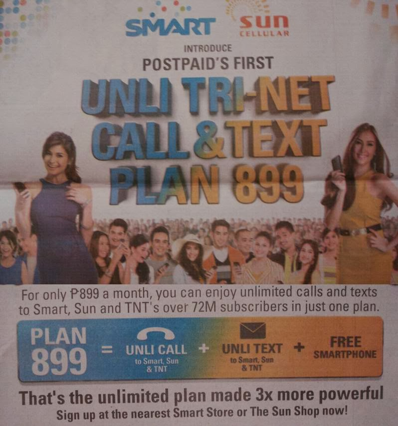 SMART, Sun, TNT, postpaid, cellphone, unli trinet