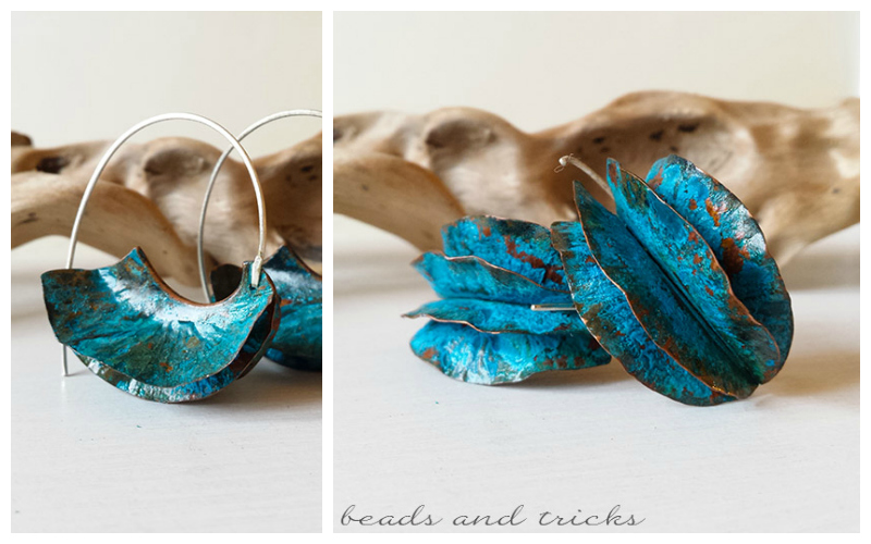 Orecchini in rame con patina blu, foldforming e argento 925