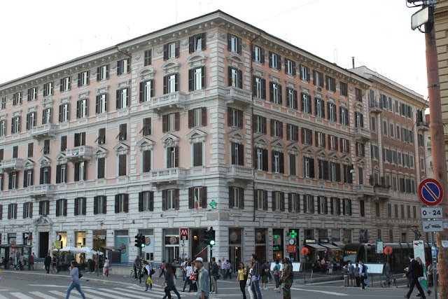 Another street building near to Porta del Popolo in Rome, Italy