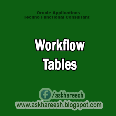 Workflow Tables, askhareesh blog for Oracle Apps