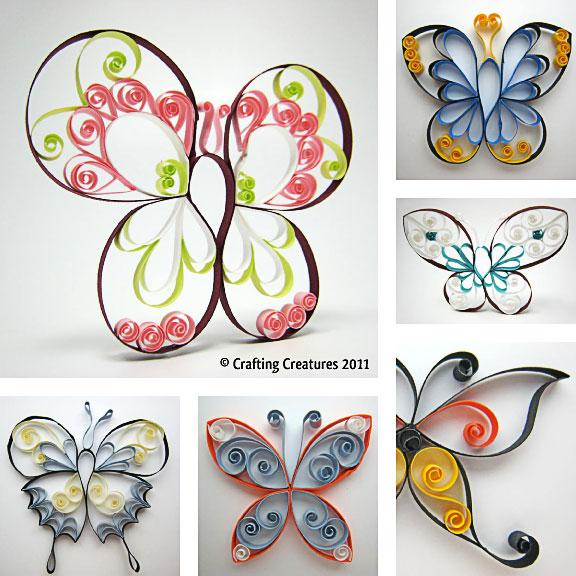 Paper Quilling Butterfly Pattern : ペーパークラフト 無料 簡単 : 無料