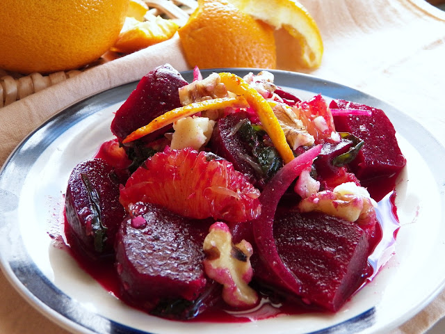 Comfy Cuisine: Roasted Beet Salad with Oranges & Beet Greens