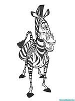 Gambar Zebra Dari Film Madagaskar Untuk Diwarnai