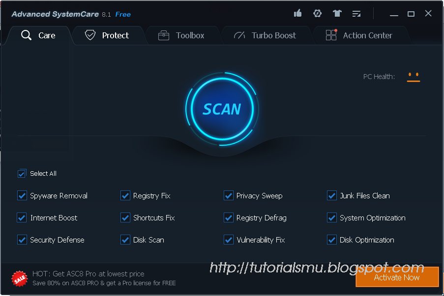 Advanced SystemCare 8.1 interface