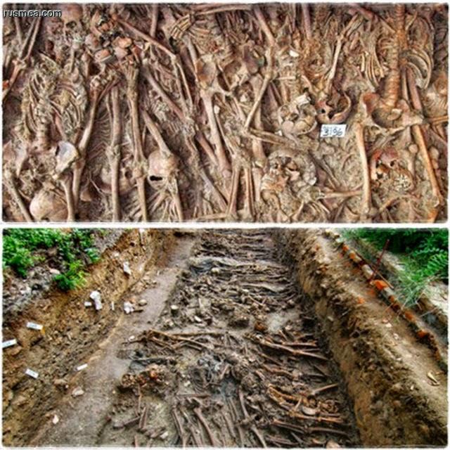 Cova na ilha de Poveglia contendo milhares dos restos mortais das pessoas queimadas vivas durante o período da Peste Negra.