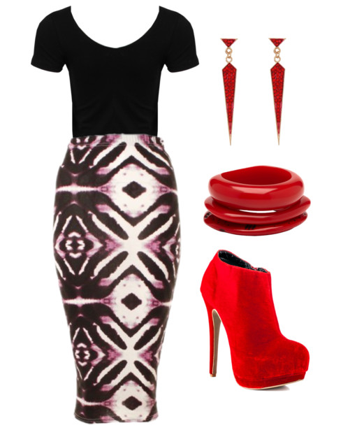 tribal print skirt with red accessories