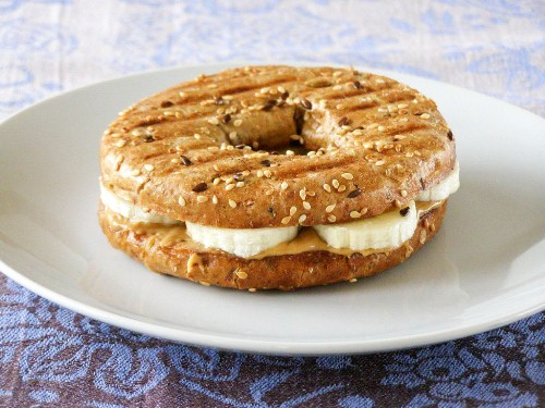 Peanut Butter and Banana on a Butter Grilled Multigrain bagel