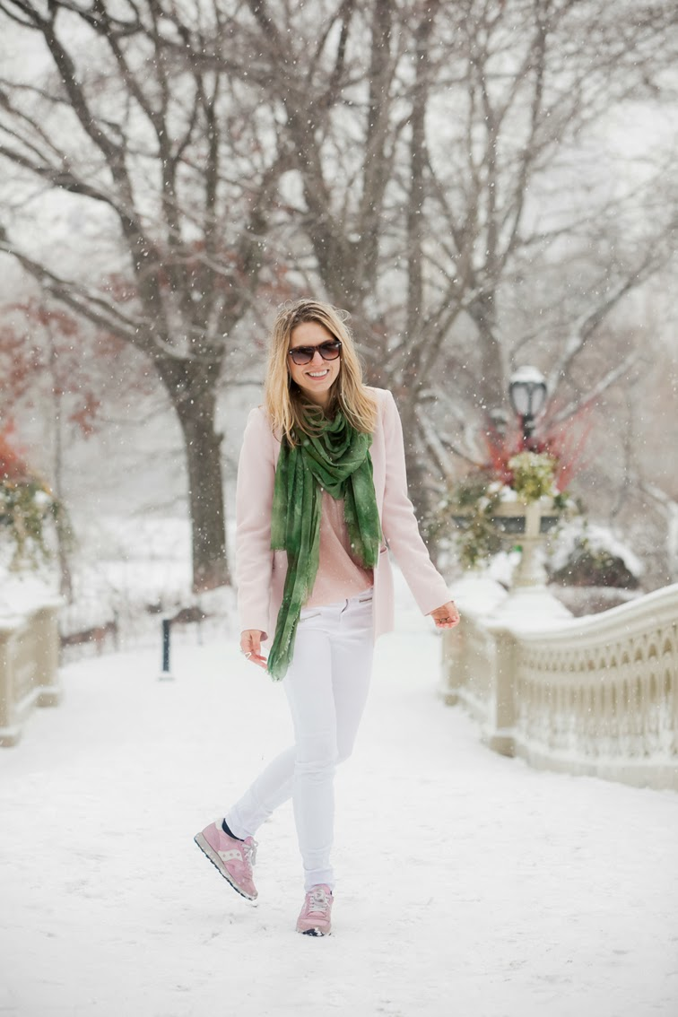 Winter pastels soft pink white denim