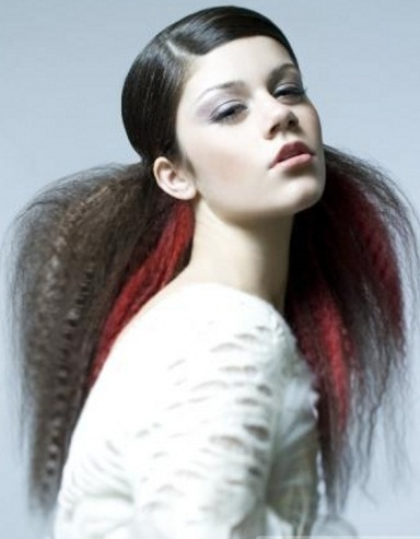 Long Black Hair with Red Highlights 2014