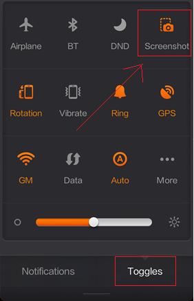 Cara Kedua Screenshot Layar Xiaomi Redmi 1S Dari Toggle