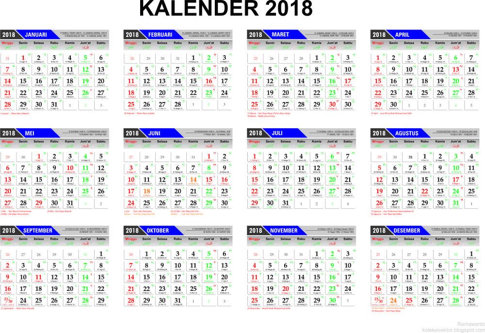 Template Kalender 2018