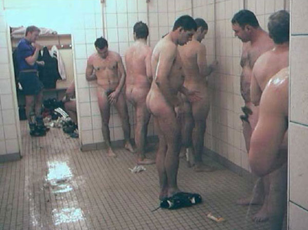 Naked Football Players Locker Room