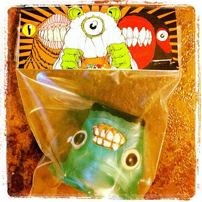 Trick or Teeth Halloween Mini Figure Series by Motorbot - Frankenstein Booger Resin Figure & Packaging