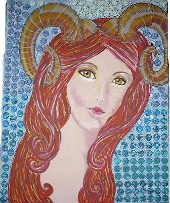 Pintura Mujer con Cuernos