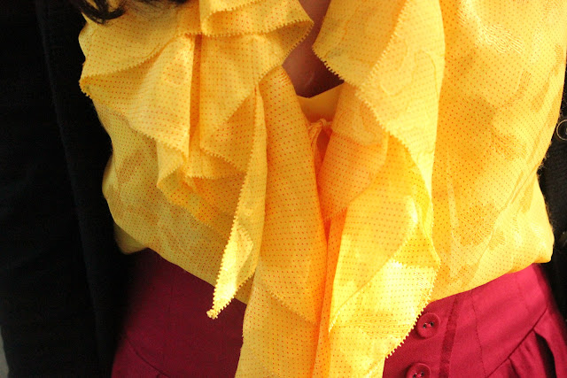 Yellow DVF Silk Blouse
