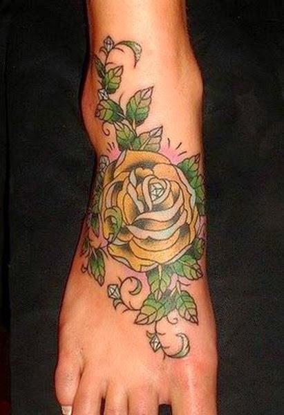Beutiful Flower Tattoo on Feet for Girl