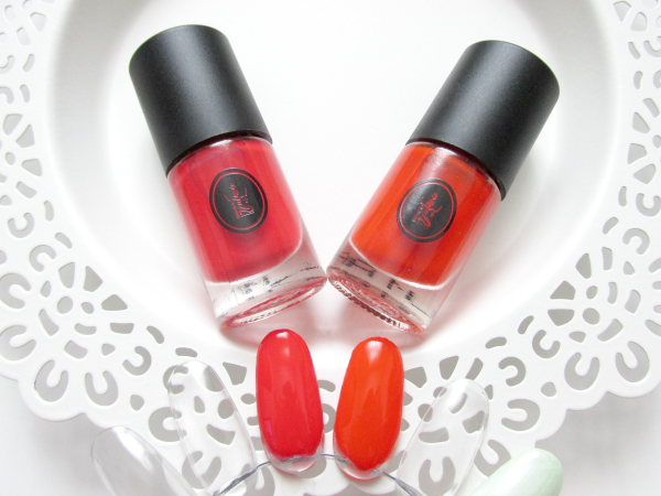 Sothys Vernis Nagellack - Nr.303 orange exotique & Nr.304 rouge grenadine - Swatches Nagelrad