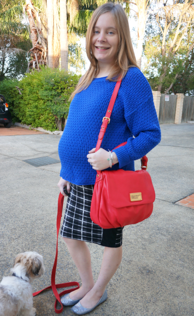 third trimester winter work office outfit pregnancy asos maternity pencil skirt cobalt knit
