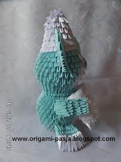 Miś origami modułowe.