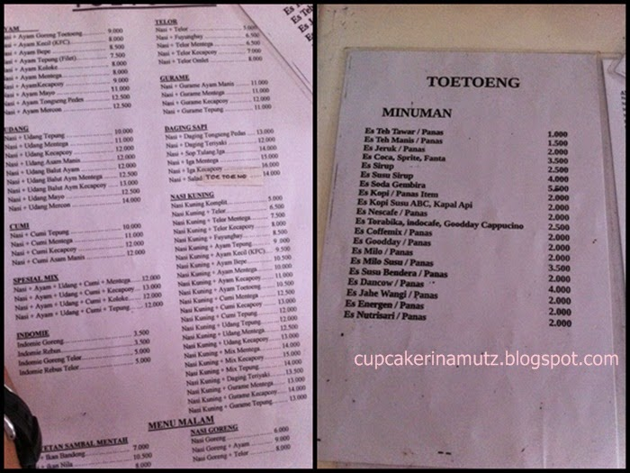 Kuliner jogja warung makan toetoeng rina chabbymutz for Z kitchen jogja menu