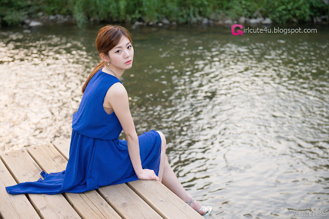 1 Chae Eun in Blue - very cute asian girl - girlcute4u.blogspot.com