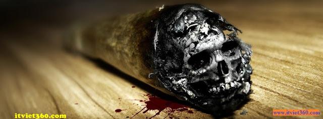 Ảnh bìa facebook 3D đẹp độc đáo - Cover FB timeline nice, điếu thuốc tàn hình đầu lâu