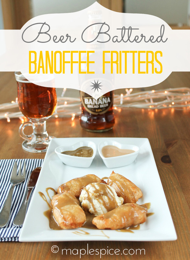 Vegan Beer Battered Banoffee Fritters with Vanilla Ice Cream and Salted Caramel or Toffee Sauce.