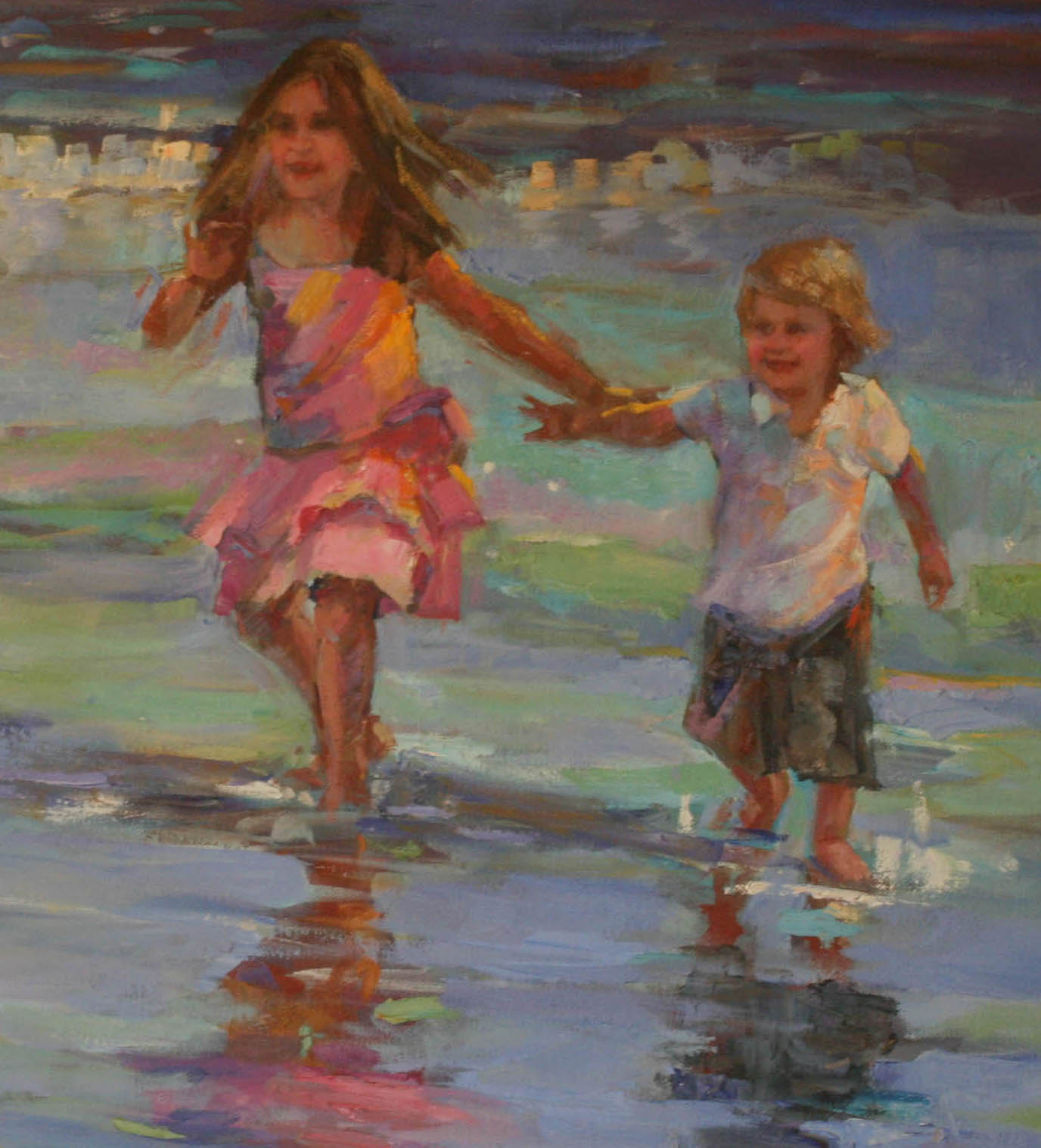 detail of kids running on the beach by elizabeth blaylock