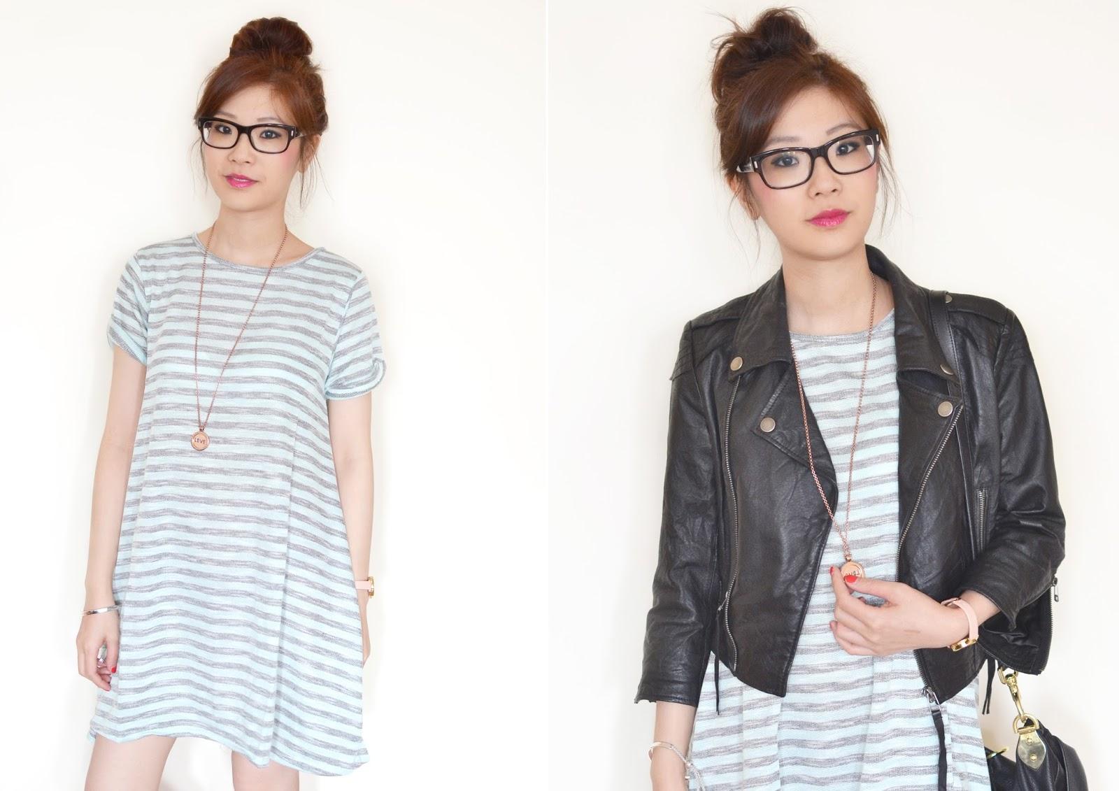 how to wear stripy dress, striped tshirt dress