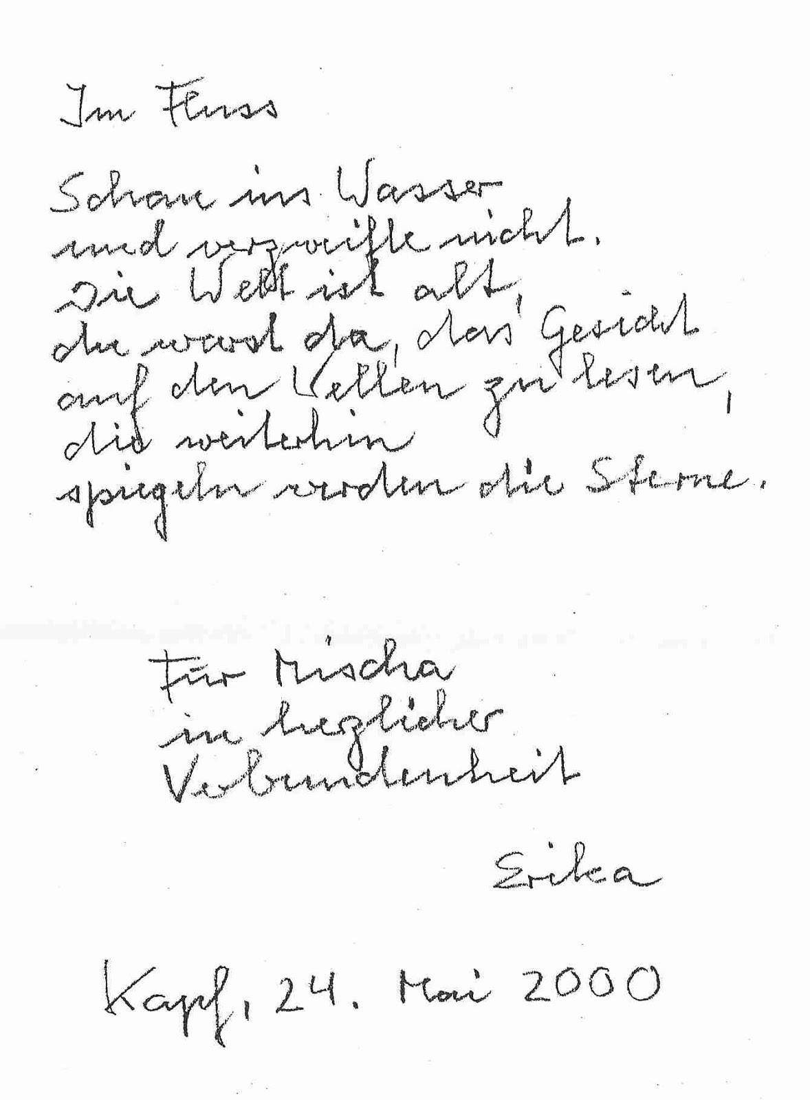 erika burkart handschriftliches gedicht IM FLUSS an für mischa vetere