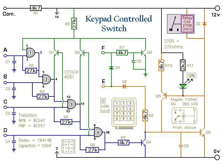 A 4-Digit Keypad Controller Switch Circuit