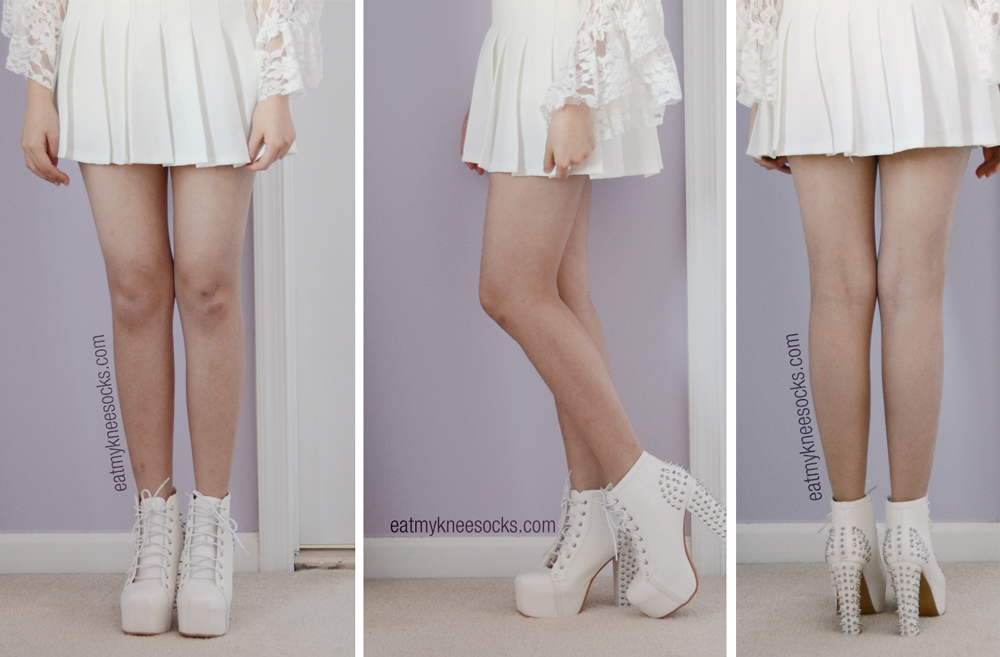 Final photos of the Milanoo white spiked platform booties, worn with the lace bell-sleeve dress and a white pleated tennis skirt.