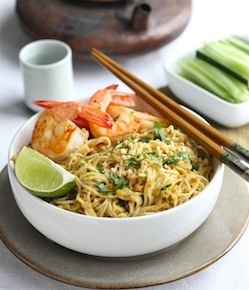 spicy asian satay peanut noodle recipe with shrimp