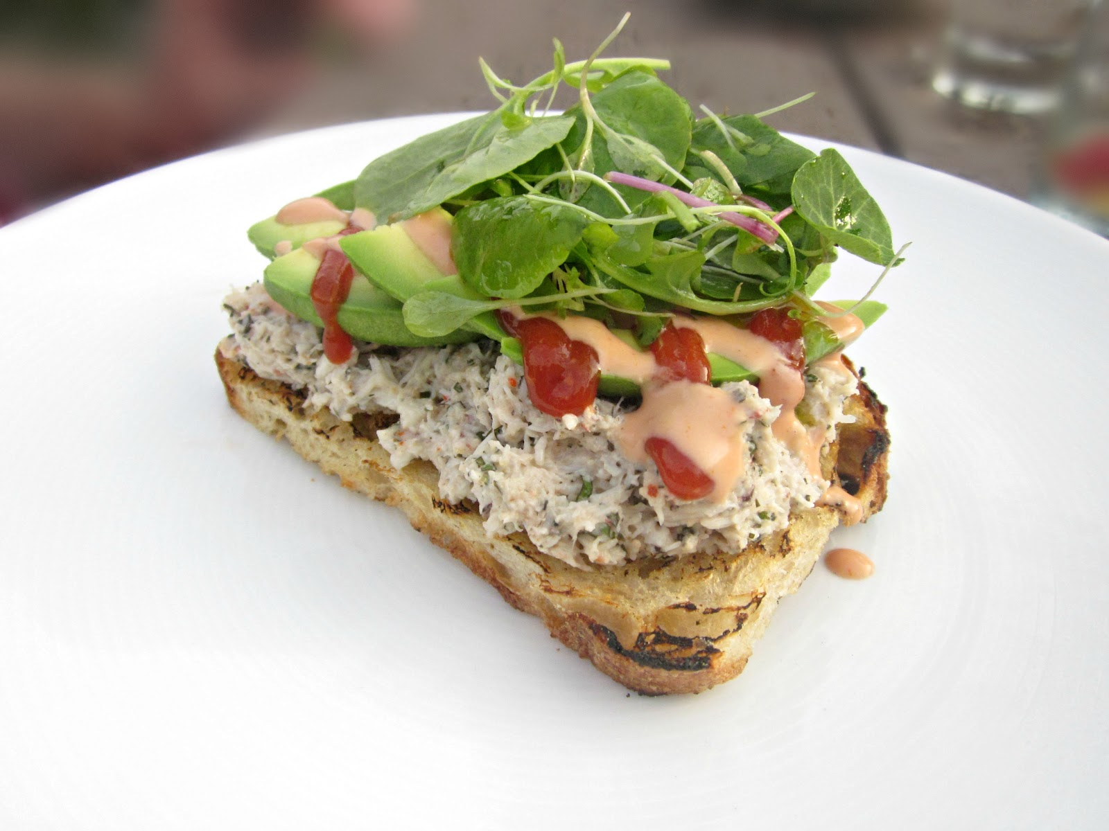 Our other appetizer was a Peekytoe crab toast with avocado, French ...