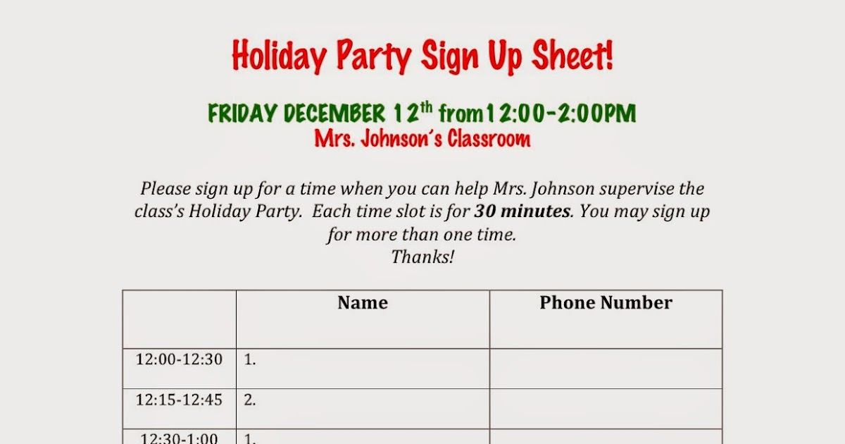 avenue b  holiday party sign up sheets