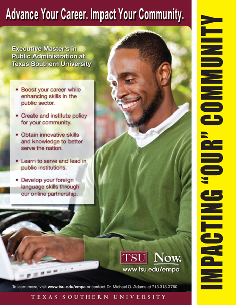 FURTHER YOUR EDUCATION AT TEXAS SOUTHERN UNIVERSITY