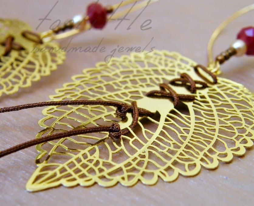 μεγάλα επίχρυσα σκουλαρίκια με διάτρητα φύλλα