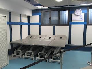 Sala de Recuperação no Vestiário do Real Madrid no Estádio Santiago Bernabeu