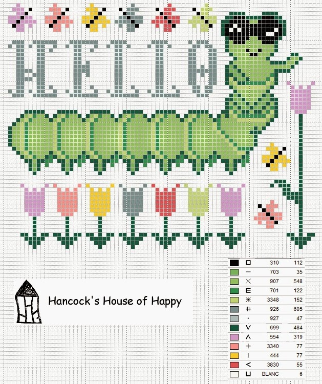 free cross stitch chart green caterpillar tulips butterflies