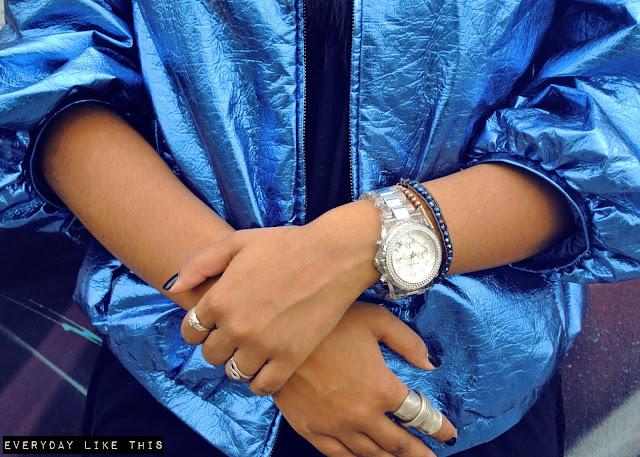 """<img alt=""""Sass and Bide, Bomber jacket, blue jacket, metallic clothing, metallic blue, fashion, blogger, everyday like this, Australian designer,"""">"""
