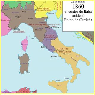 Italia en 1860, con la anexión de territorios del Reino de Cerdeña