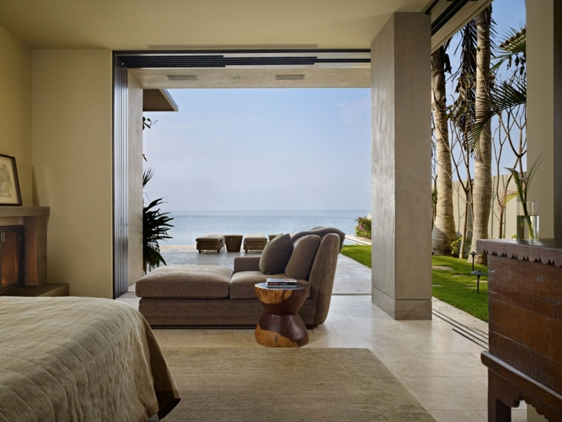 Bedroom view in the Gorgeous modern stone house on the beach