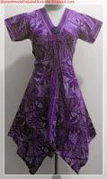 model baju batik kombinasi polos ungu