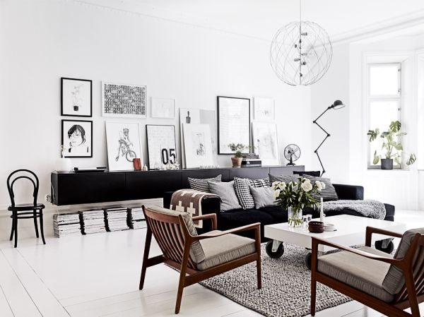 mid century modern mcm living room design