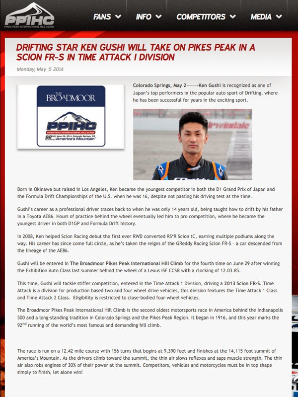 http://www.ppihc.com/updates/2014/05/05/drifting-star-ken-gushi-will-take-on-pikes-peak-in-a-scion-fr-s-in-time-attack-i-division/