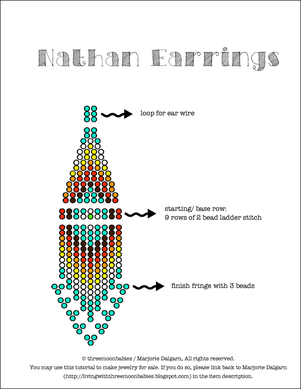 living with ThreeMoonBabies | Nathan Earrings Beading Pattern