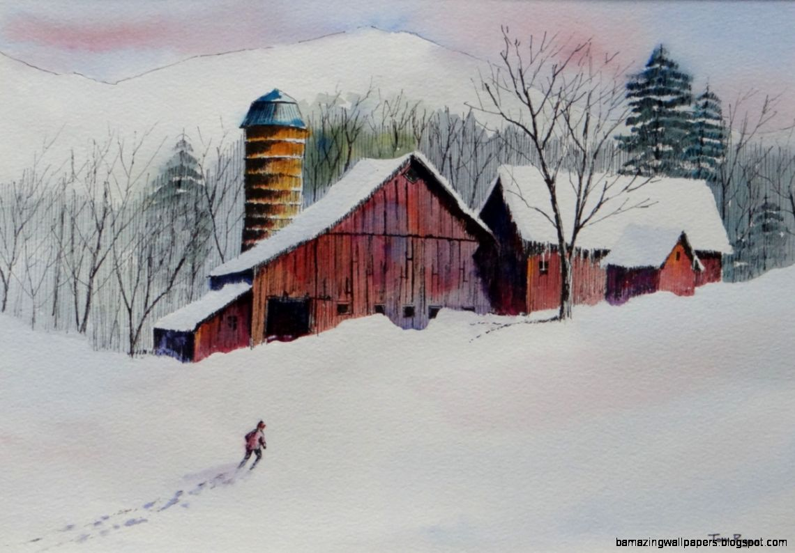 Painting  Winter on the Farm Original art by Tom Ryan Watercolors